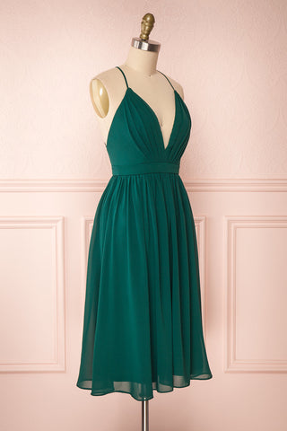 Joelle Emerald Chiffon Cocktail Dress | Robe | Boutique 1861 side view