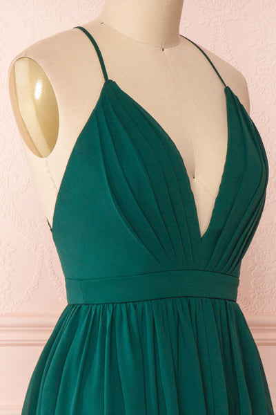 Joelle Emerald Chiffon Cocktail Dress | Robe | Boutique 1861 side close-up