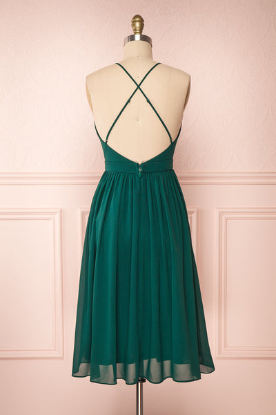 Joelle Emerald Chiffon Cocktail Dress | Robe | Boutique 1861 back view