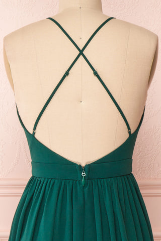 Joelle Emerald Chiffon Cocktail Dress | Robe | Boutique 1861 back close-up