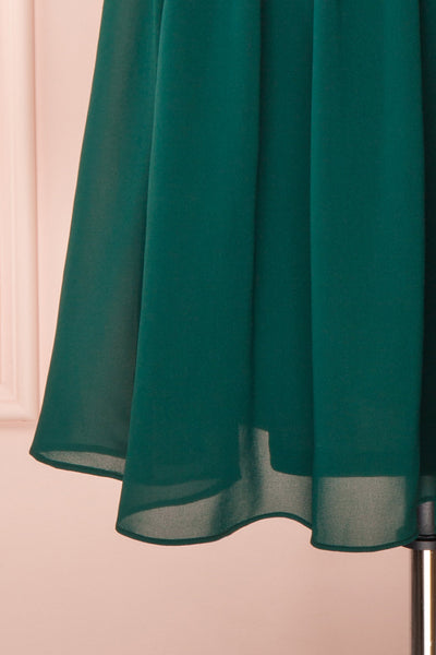 Joelle Emerald Chiffon Cocktail Dress | Robe | Boutique 1861 bottom close-up