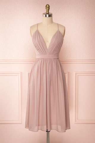 Joelle Mauve Chiffon Cocktail Dress | Robe | Boutique 1861 front view