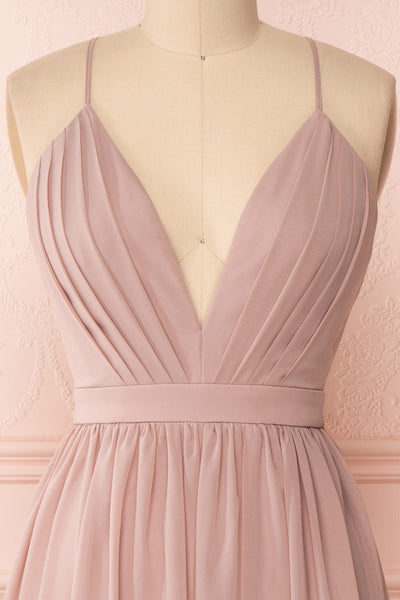 Joelle Mauve Chiffon Cocktail Dress | Robe | Boutique 1861 front  close-up