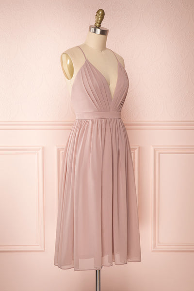 Joelle Mauve Chiffon Cocktail Dress | Robe | Boutique 1861 side view