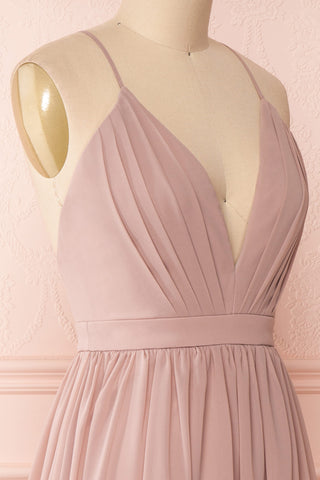 Joelle Mauve Chiffon Cocktail Dress | Robe | Boutique 1861 side close-up