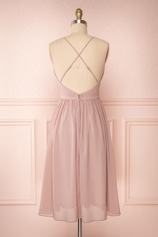 Joelle Mauve Chiffon Cocktail Dress | Robe | Boutique 1861 back view