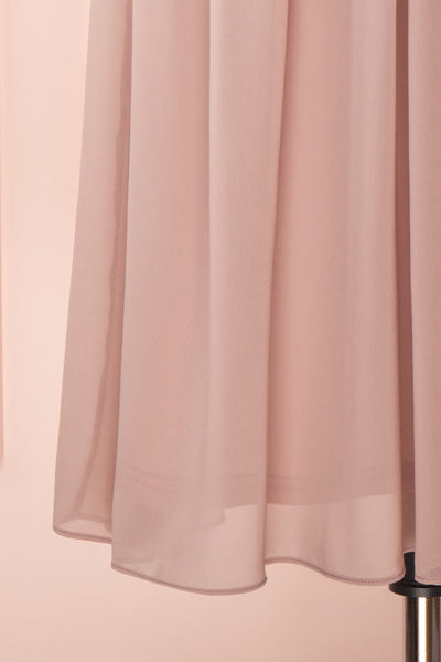 Joelle Mauve Chiffon Cocktail Dress | Robe | Boutique 1861 bottom close-up