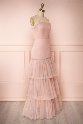 Johanne Nude Pink Layered Tulle Mermaid Dress | Boutique 1861 side view
