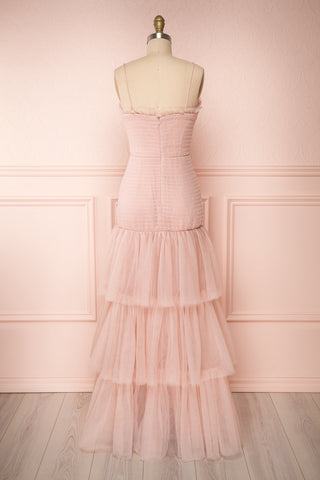 Johanne Nude Pink Layered Tulle Mermaid Dress | Boutique 1861 back view