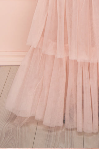 Johanne Nude Pink Layered Tulle Mermaid Dress | Boutique 1861 bottom close-up