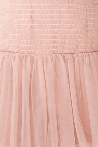Johanne Nude Pink Layered Tulle Mermaid Dress | Boutique 1861 fabric details