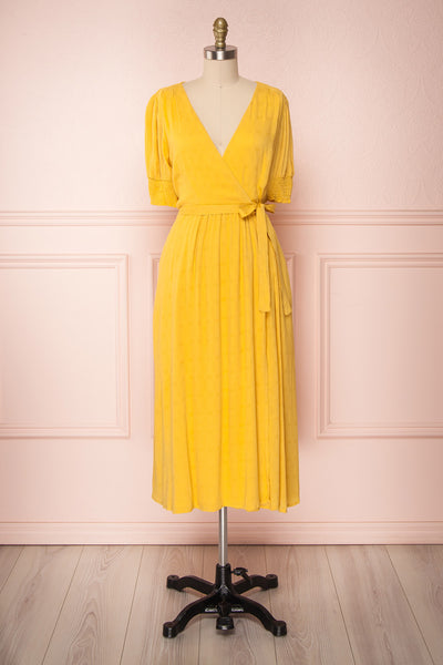 Joti Jaune Yellow Faux-Wrap Midi Summer Dress | Boutique 1861