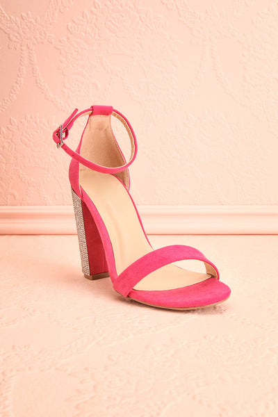 Jouvenet Pink High Heeled Sandals | Sandales | Boutique 1861 front close-up
