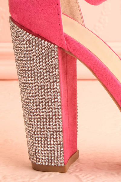 Jouvenet Pink High Heeled Sandals | Sandales | Boutique 1861 side back close-up