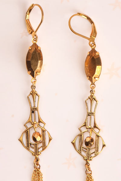 Joyce Compton Golden Art Deco Pendant Earrings | Boutique 1861 2