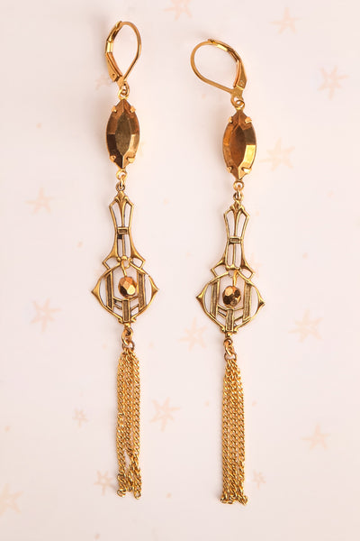 Joyce Compton Golden Art Deco Pendant Earrings | Boutique 1861 1