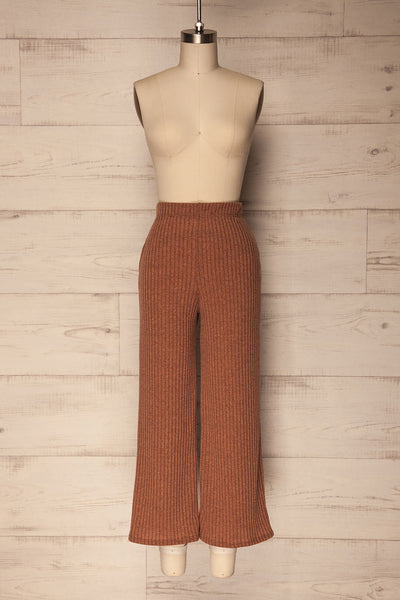 Kaiafa Mocha Orange Ribbed Wide Leg Cropped Pants | La Petite Garçonne 1