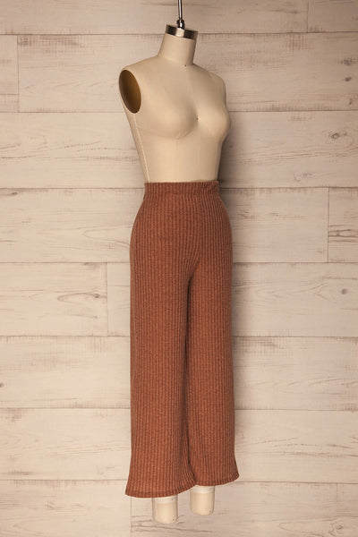 Kaiafa Mocha Orange Ribbed Wide Leg Cropped Pants | La Petite Garçonne 3