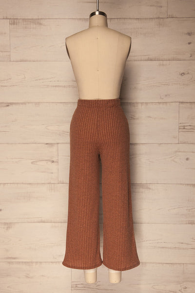 Kaiafa Mocha Orange Ribbed Wide Leg Cropped Pants | La Petite Garçonne 5