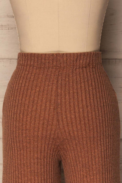 Kaiafa Mocha Orange Ribbed Wide Leg Cropped Pants | La Petite Garçonne 6