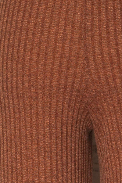 Kaiafa Mocha Orange Ribbed Wide Leg Cropped Pants | La Petite Garçonne 8