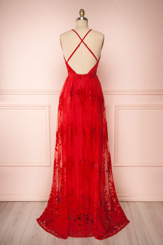 Kailania Red Plunging Neckline Mesh Maxi Gown | Boutique 1861 back view
