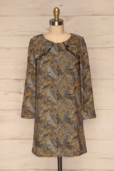 Kalamos Black Tunic Dress w/ Leaves Pattern front view | La Petite Garçonne