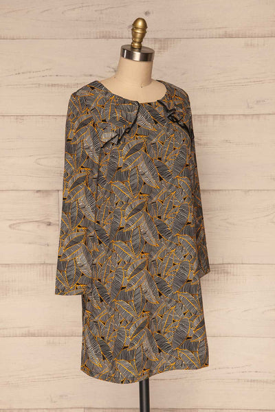 Kalamos Black Tunic Dress w/ Leaves Pattern side view | La Petite Garçonne