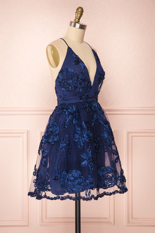 Kalena Navy Blue Party Dress | Robe de Fête side view | Boutique 1861