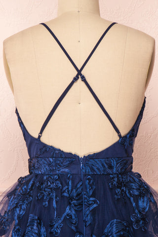 Kalena Navy Blue Party Dress | Robe de Fête back close up | Boutique 1861