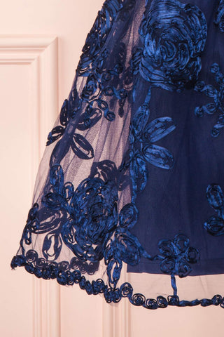 Kalena Navy Blue Party Dress | Robe de Fête skirt close up | Boutique 1861