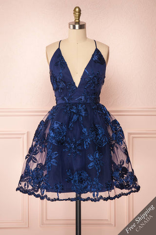 Kalena Navy Blue Party Dress | Robe de Fête front view FS | Boutique 1861