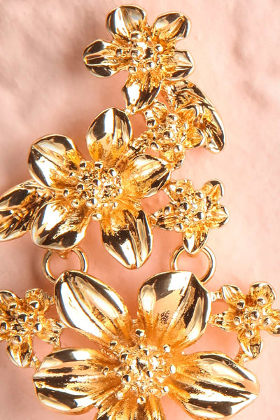 Kallaste Gold Statement Floral Pendant Earrings close-up | Boutique 1861
