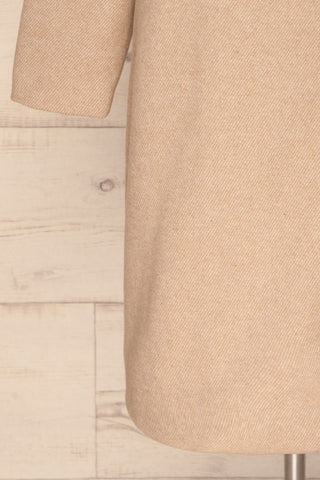 Kallithea Long Beige Loose Wool-Blend Coat sleevedetail | La Petite Garçonne