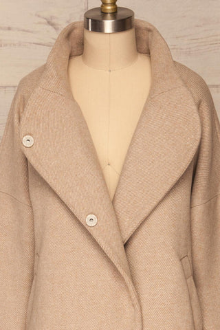 Kallithea Long Beige Loose Wool-Blend Coat front close up open | La Petite Garçonne