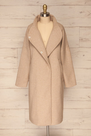 Kallithea Long Beige Loose Wool-Blend Coat front view open | La Petite Garçonne