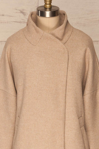 Kallithea Long Beige Loose Wool-Blend Coat front close up | La Petite Garçonne