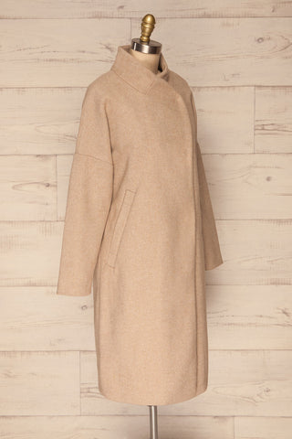 Kallithea Long Beige Loose Wool-Blend Coat side view | La Petite Garçonne