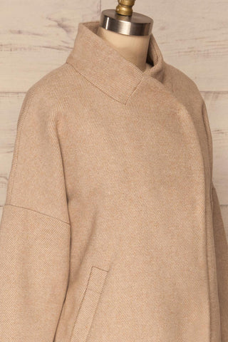 Kallithea Long Beige Loose Wool-Blend Coat side close up | La Petite Garçonne