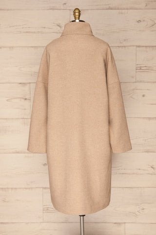 Kallithea Long Beige Loose Wool-Blend Coat back view | La Petite Garçonne
