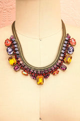 Kalopane Colourful Crystals Antique Gold Necklace | Boutique 1861