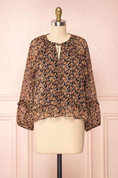 Kalvdans Paisley 3/4 Sleeve Button-Up Blouse | Boutique 1861 front view