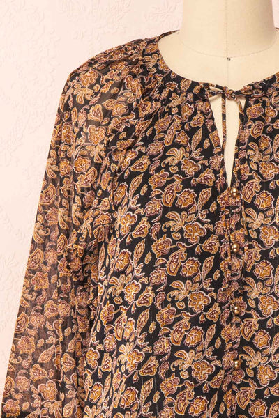 Kalvdans Paisley 3/4 Sleeve Button-Up Blouse | Boutique 1861 front close-up