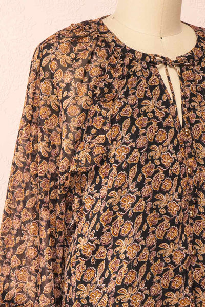 Kalvdans Paisley 3/4 Sleeve Button-Up Blouse | Boutique 1861 side close-up