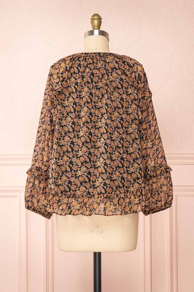 Kalvdans Paisley 3/4 Sleeve Button-Up Blouse | Boutique 1861 back view