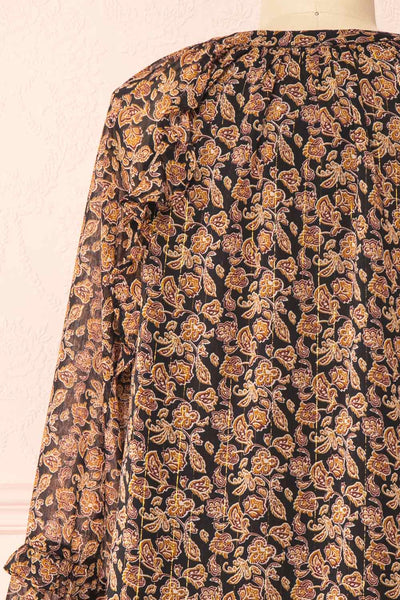 Kalvdans Paisley 3/4 Sleeve Button-Up Blouse | Boutique 1861 back close-up