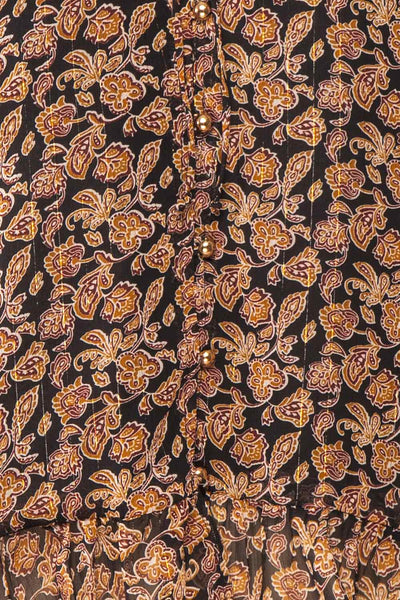 Kalvdans Paisley 3/4 Sleeve Button-Up Blouse | Boutique 1861 fabric