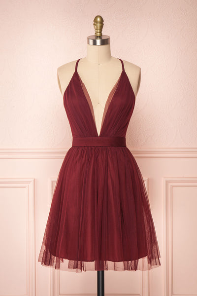 Kamagaya Wine Burgundy Short Mesh A-Line Dress | FRONT VIEW | Boutique 1861