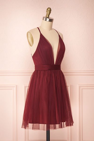 Kamagaya Wine Burgundy Short Mesh A-Line Dress | SIDE VIEW | Boutique 1861