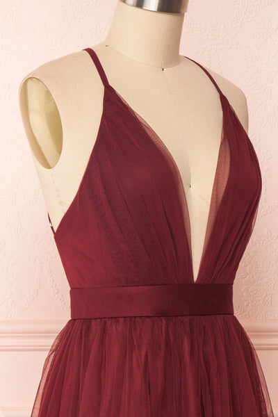 Kamagaya Wine Burgundy Short Mesh A-Line Dress | SIDE CLOSE UP | Boutique 1861